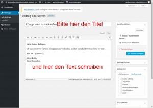 Titel und Text schreiben