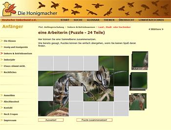 Übungstest auf der Website Die Honigmacher